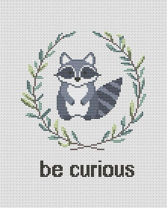 Be curious - Raccoon cross stitch pattern pdf by AnnaXStitch - Baby embroidery scheme - Nursery needlepoint chart - Instant download #0023 -  Be curious – counted cross stitch pattern pdf. The sample on the picture is cross-stitched on 14c - #AnnaXStitch #Baby #chart #countedCrossStitch #Cross #CrossStitchcharts #CrossStitchchristmas #CrossStitchembroidery #CrossStitchfreebies #CrossStitchgeeky #CrossStitchletters #CrossStitchquotes #Curious #download #embroidery #instant #needlepoint #Nursery