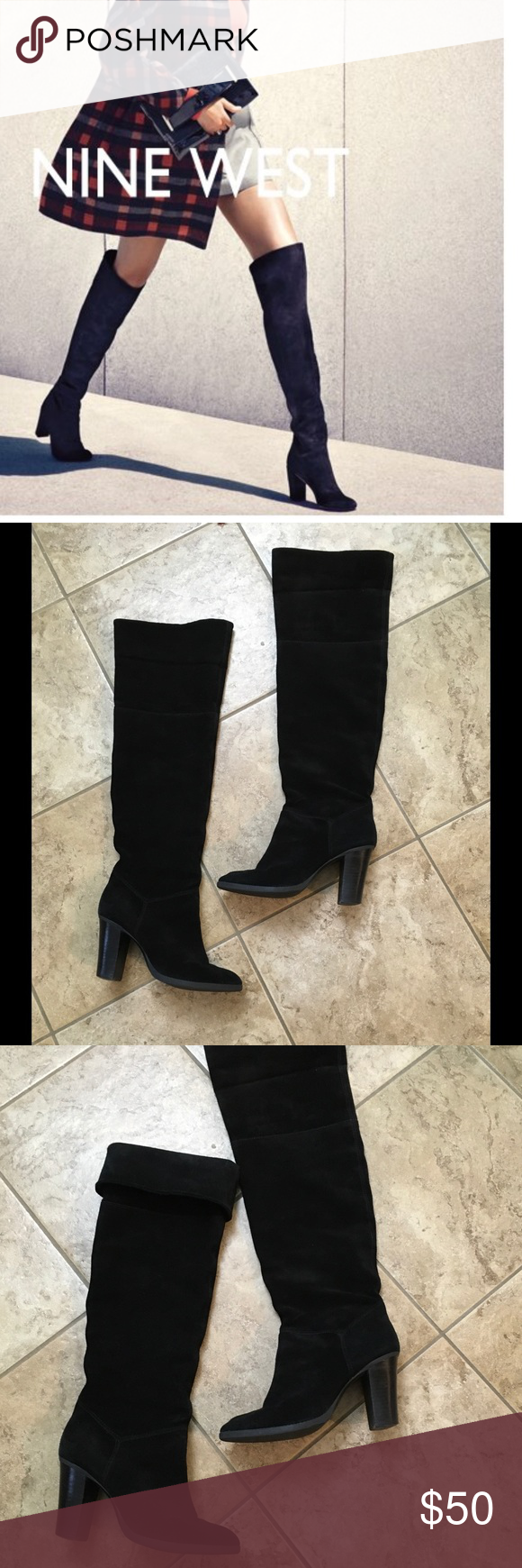 """Nine West black suede tall boots Sz 7 Super cute and trendy comfy boots can be used thigh high or fold over to fit at knee in great used condition they measure19"""" +3"""" heel Nine West Shoes Over the Knee Boots"""