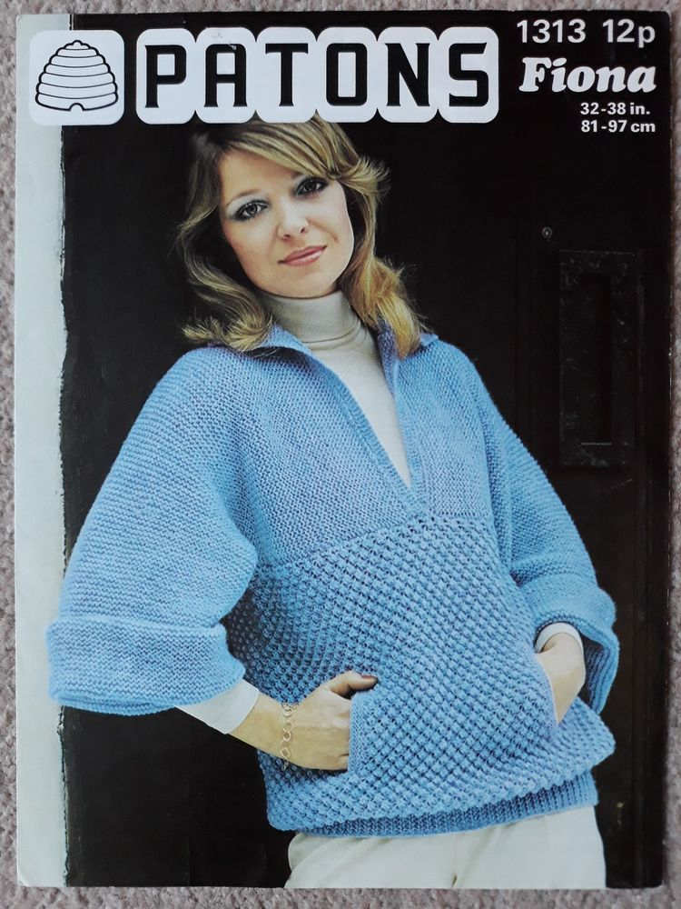 Vintage Retro Knitting Pattern Patons 1313 Ladies Slouchy Sweater