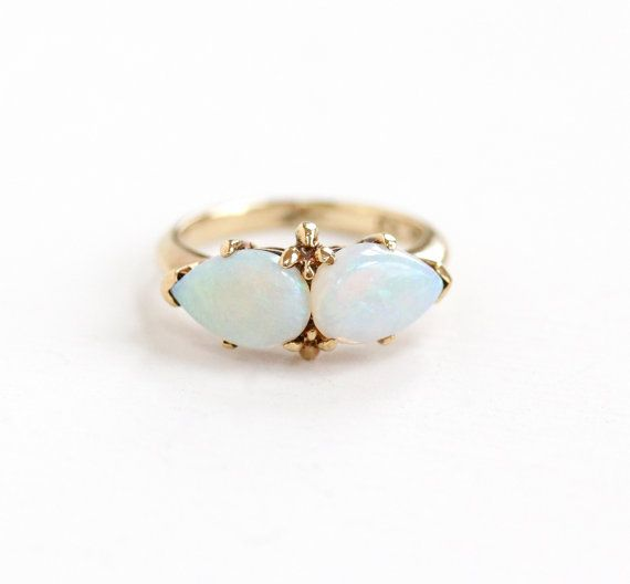 Vintage 10k Yellow Gold Double Opal Ring 1950s Size 4 1 4 Mid Century Colorful Teardrop Gem Fine Jewelry Hallmarked Rs Rothma Opal Rings Jewelry Fine Jewelry