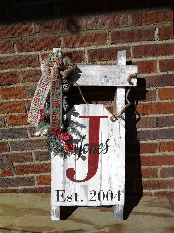 Wooden Pallet Christmas Sled Personalized Decoration