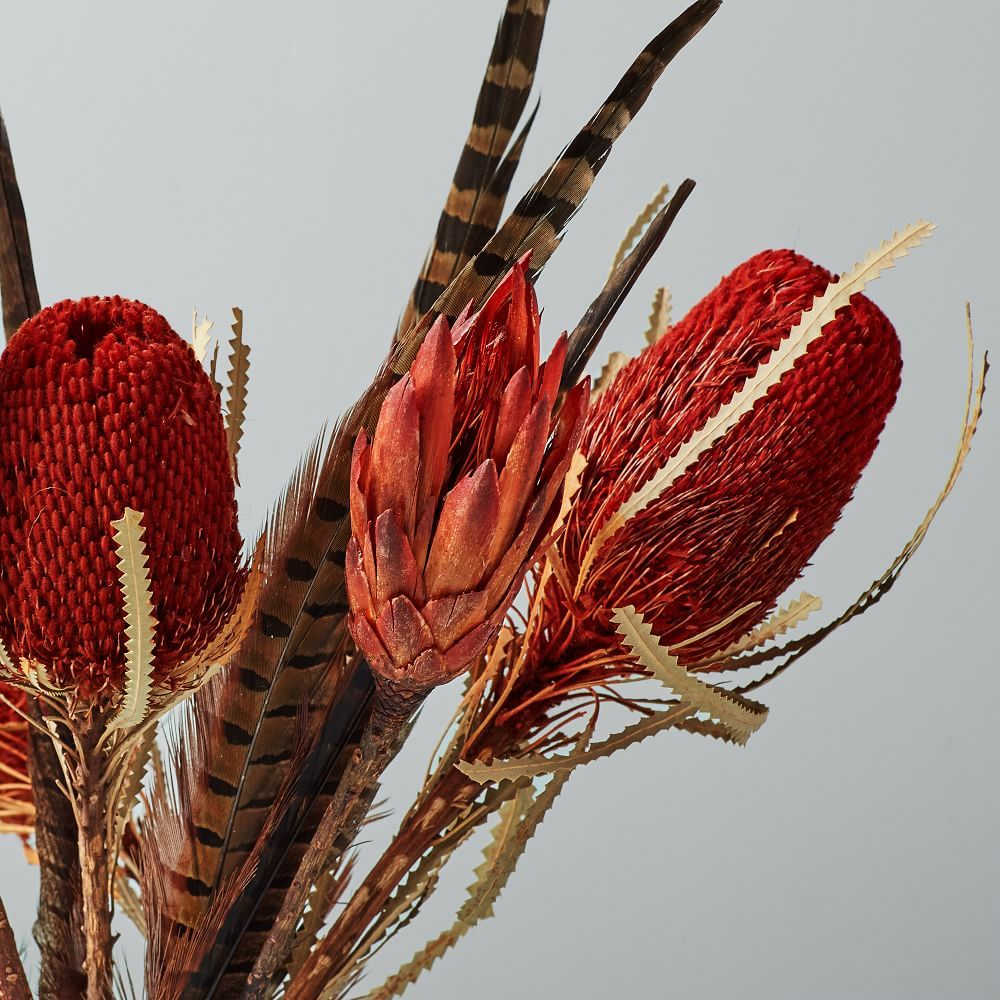 Metaflora Dried Red Banksia Protea Feathers Bouquet Dried Flower Arrangements Feather Bouquet Dried Flowers