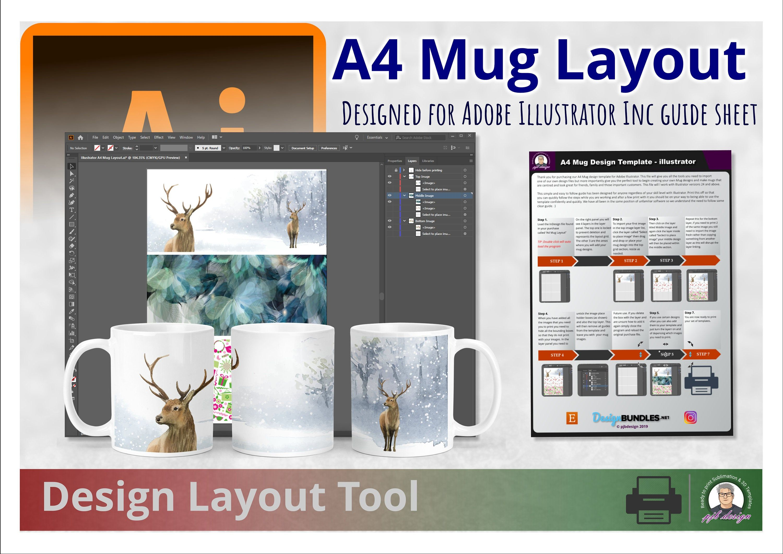 Mug Design Template Layout For Adobe Illustrator Perfect Etsy Design Template Mug Designs Sublimation Mugs
