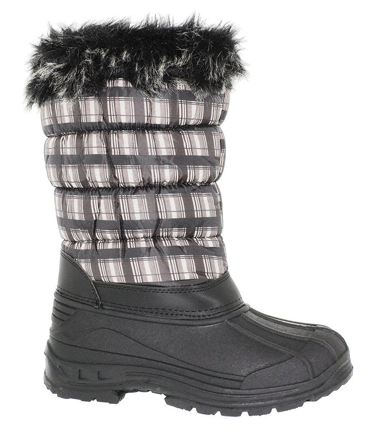 Ladies Plaid Print Snow Boot with Side Zipper and Fur Cuff *** Startling review available here  at Winter Shoes board