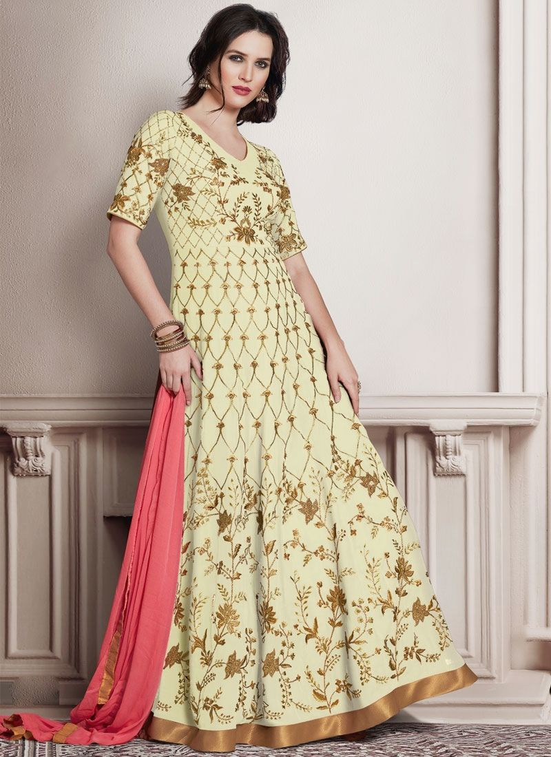 Adorable embroidered work faux georgette cream floor length anarkali