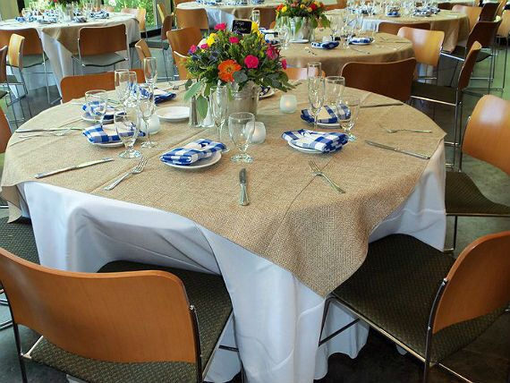 """Burlap Overlay 60/"""" × 60/"""" 100/% Natural Jute Tablecloths Table Covers Wedding"""