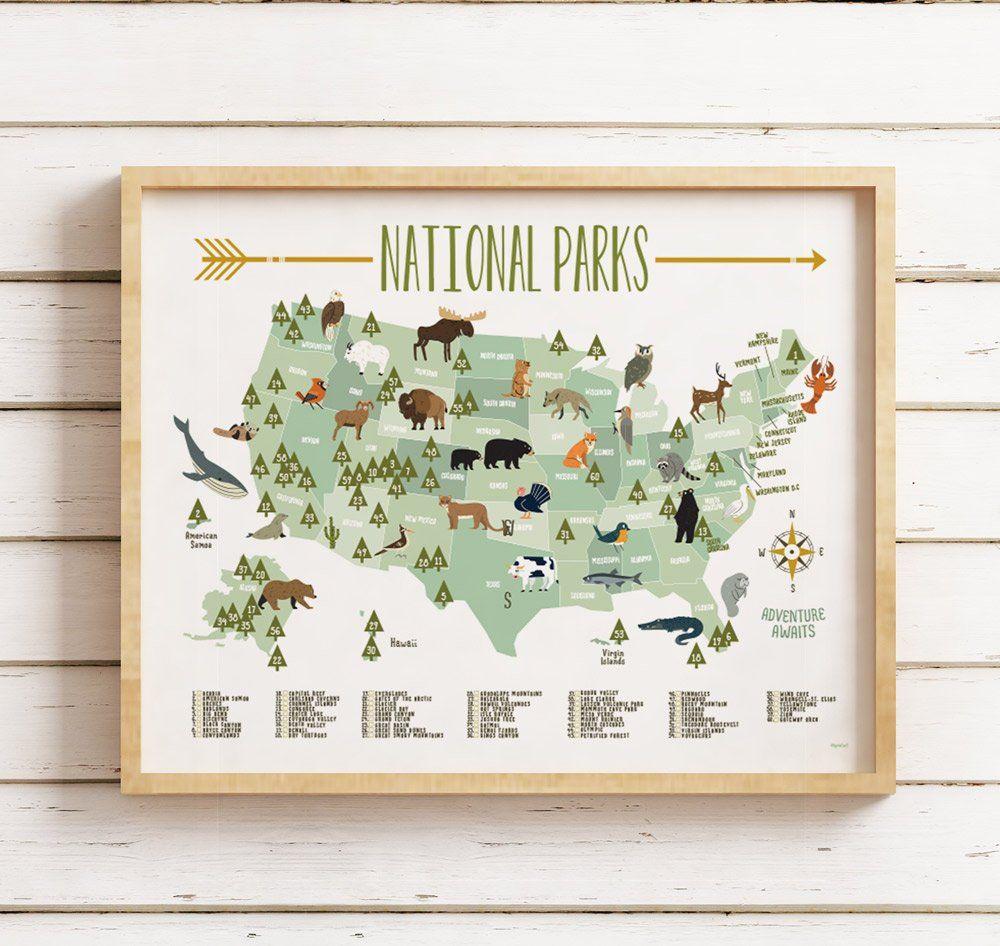 National park map, National park maps, Kids room decor