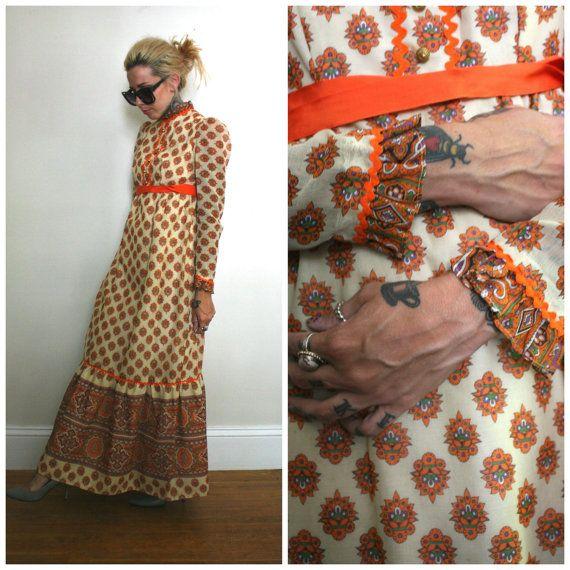 a3b267521e4 Vintage Boho Maxi Dress. 60s or 70s Hippie by ElevatedWeirdo ...