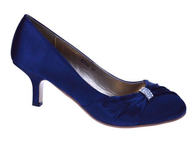 Las Womens Navy Blue Satin Wedding Bridal Evening Court Shoes Best Free Home Design Idea Inspiration