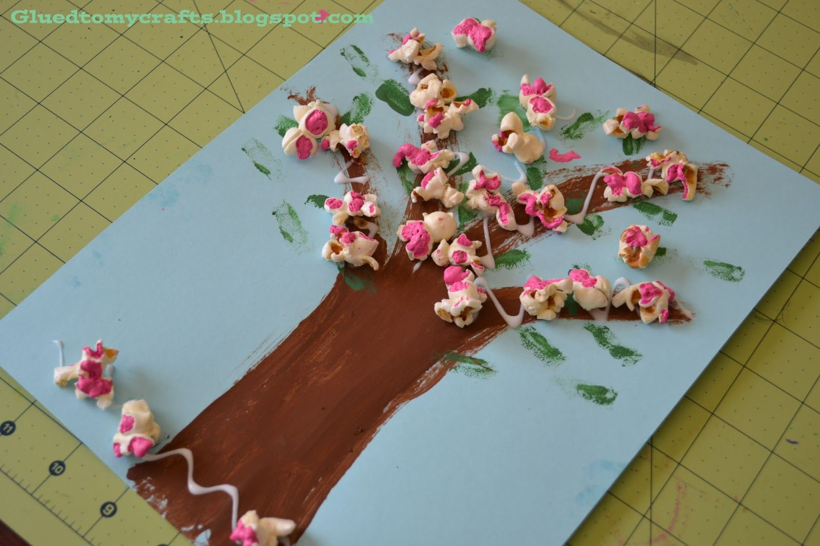 Cherry Blossom Popcorn Tree Kid Craft W Free Printable Template Crafts For Kids Pop Art For Kids Arts And Crafts For Kids