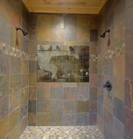 Slate tile accent wall shower tile murals pacifica for Slate tile bathroom ideas