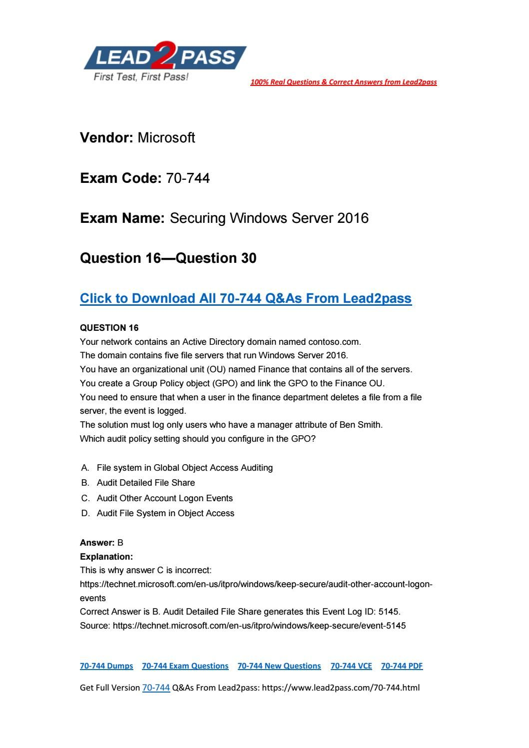 Free lead2pass 70 744 pdf dumps with the latest update exam free lead2pass 70 744 pdf dumps with the latest update exam questions 16 1betcityfo Gallery