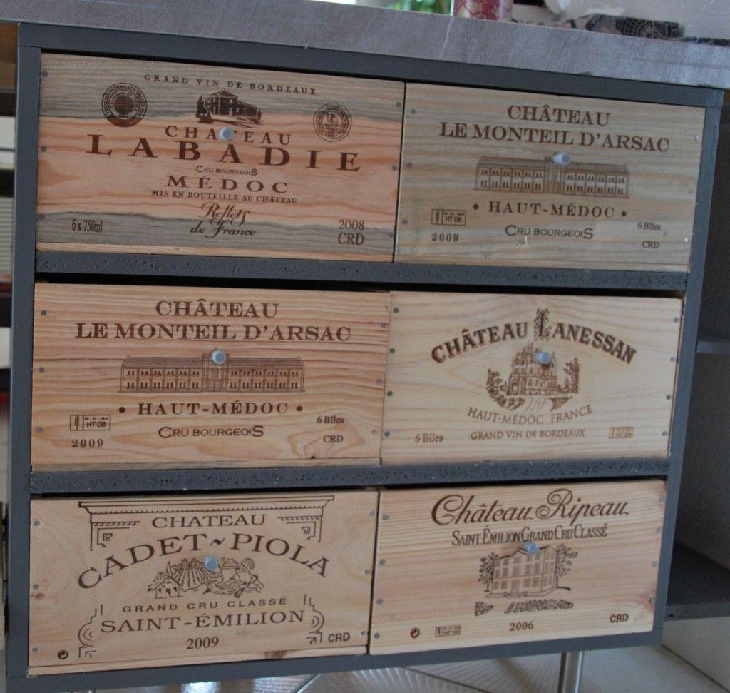 Ilot meuble tiroirs caisse a vins bricolage pinterest - Caisse a vin decoration ...