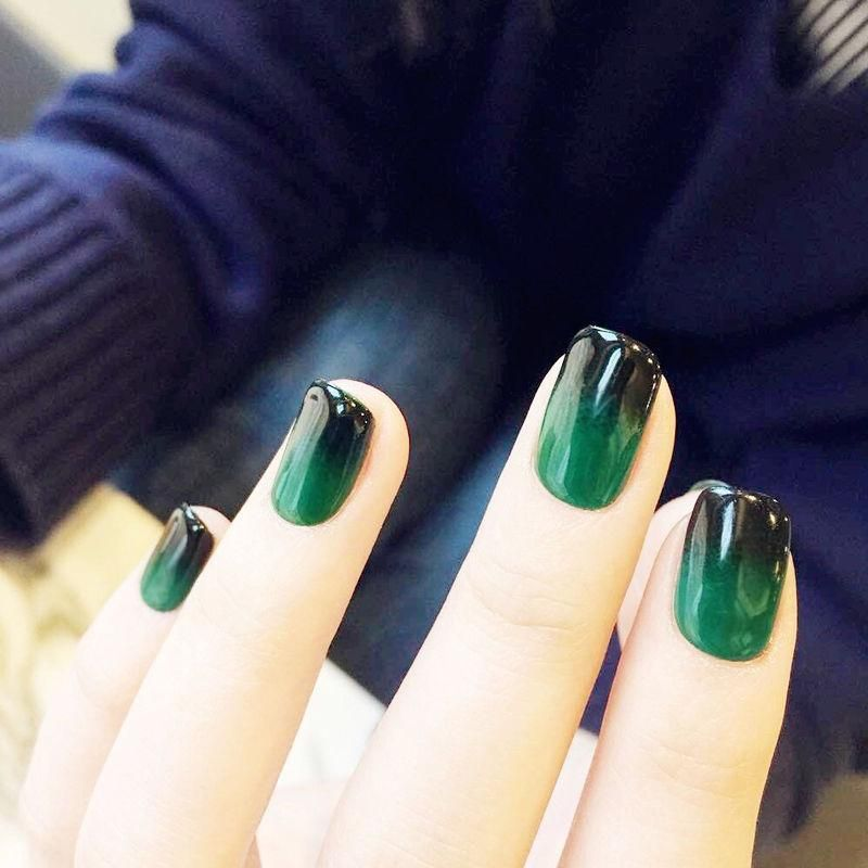 Black Green Ombre Squoval Faux Nails Fake Nail Store Short Gel Nails Green Nails Gel Nails