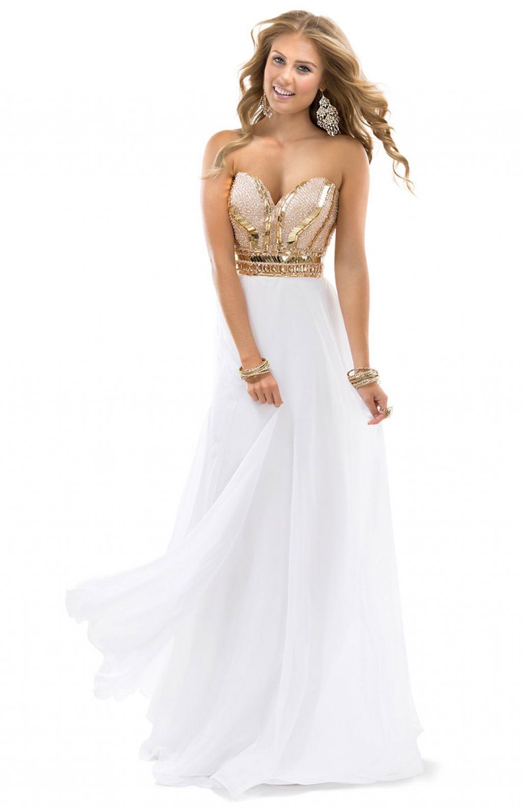 Rose gold white prom dress prom dresses pinterest prom