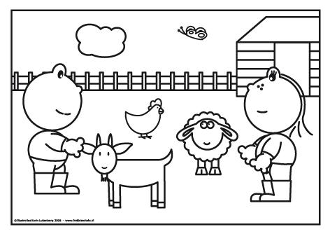 frokkie en lola op de kinderboerderij kleurplaten