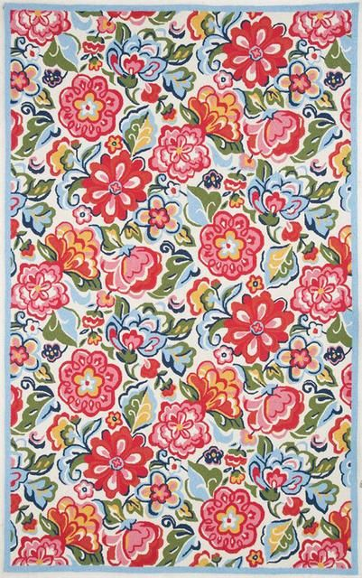 Rugstudio Presents Marcella Vera Bradley Hope Garden Vby060a Ivory Multi Hand Hooked Area Rug