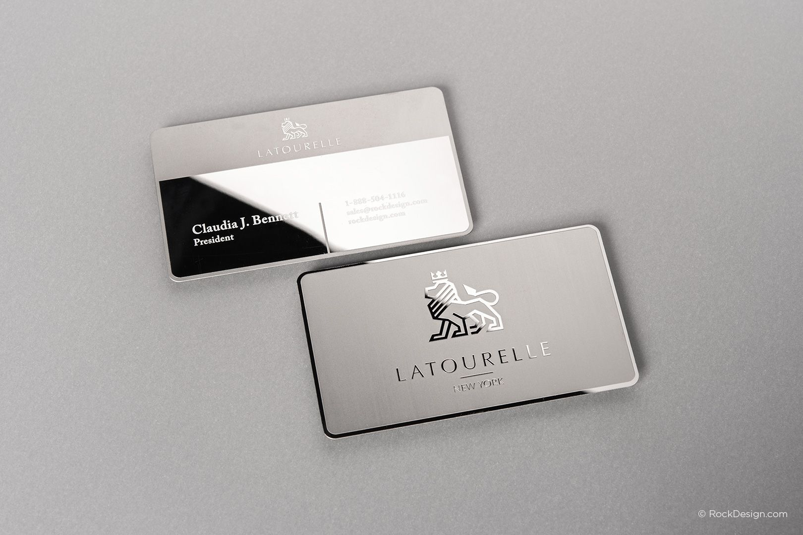 Sophisticated Modern Stainless Steel Business Card With Etching And Mirror Finish Latourelle Metal Business Cards Lawyer Business Card Luxury Business Cards