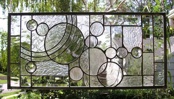 Arts And Crafts Style Circles 12 X 36 Stained Glass Window Panel Stained Glass Windows Stained Glass Panels Stained Glass Art