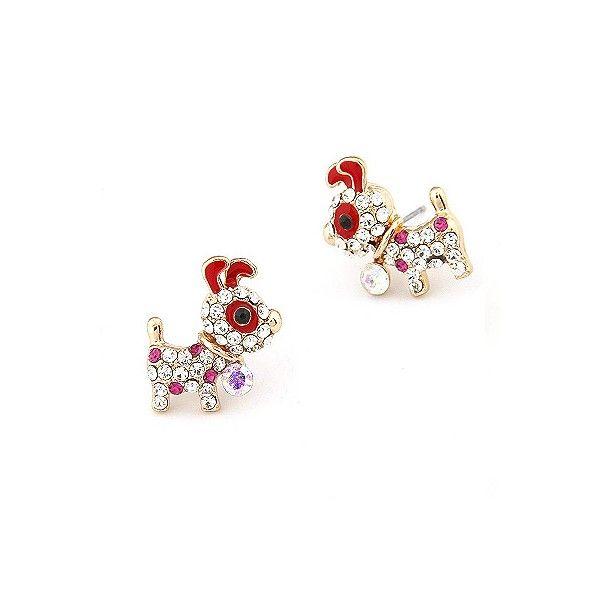 Rhinestone studded Red Puppy earrings