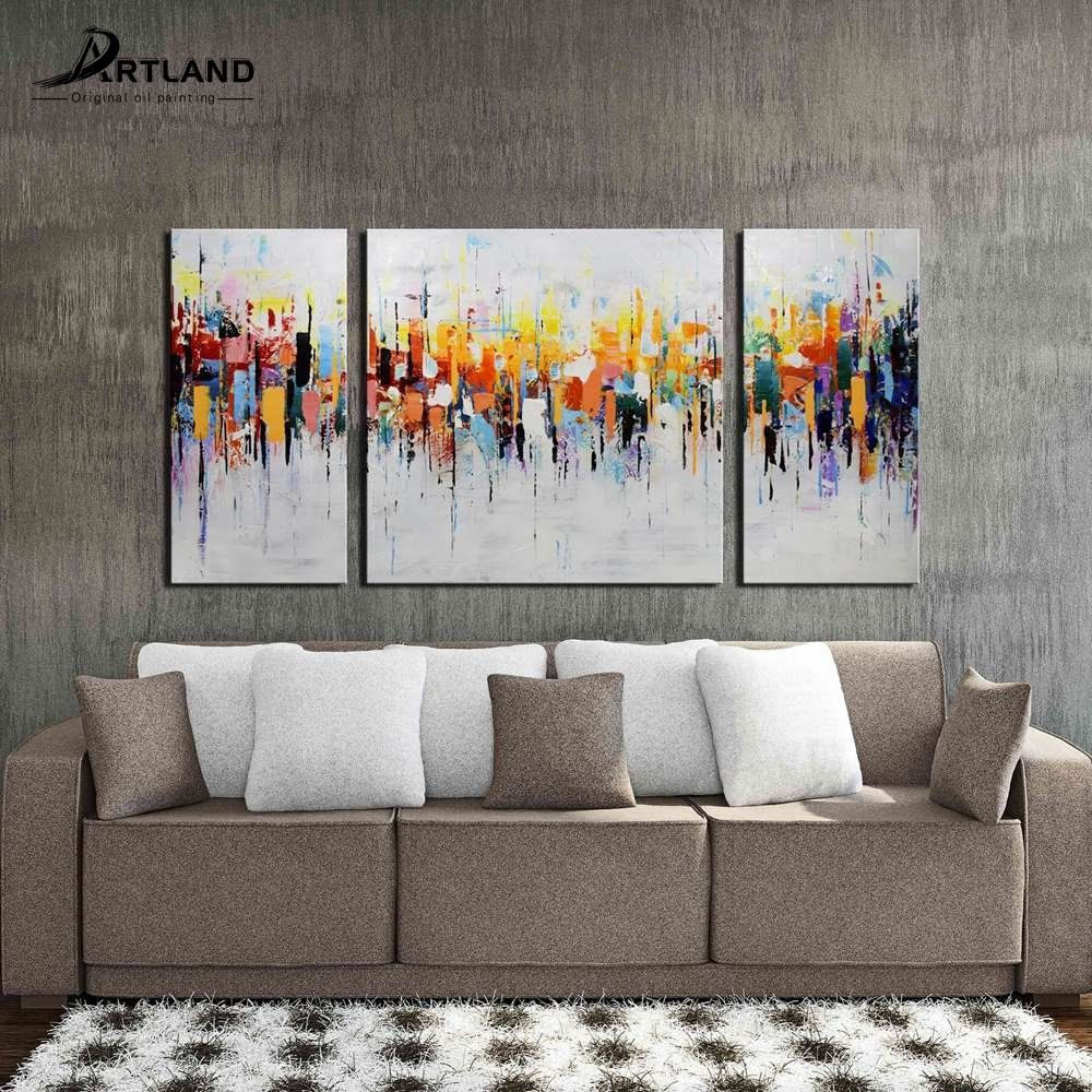 Abstract Oil Painting Hand-painted Canvas Wall Art Set \'Crazy City ...