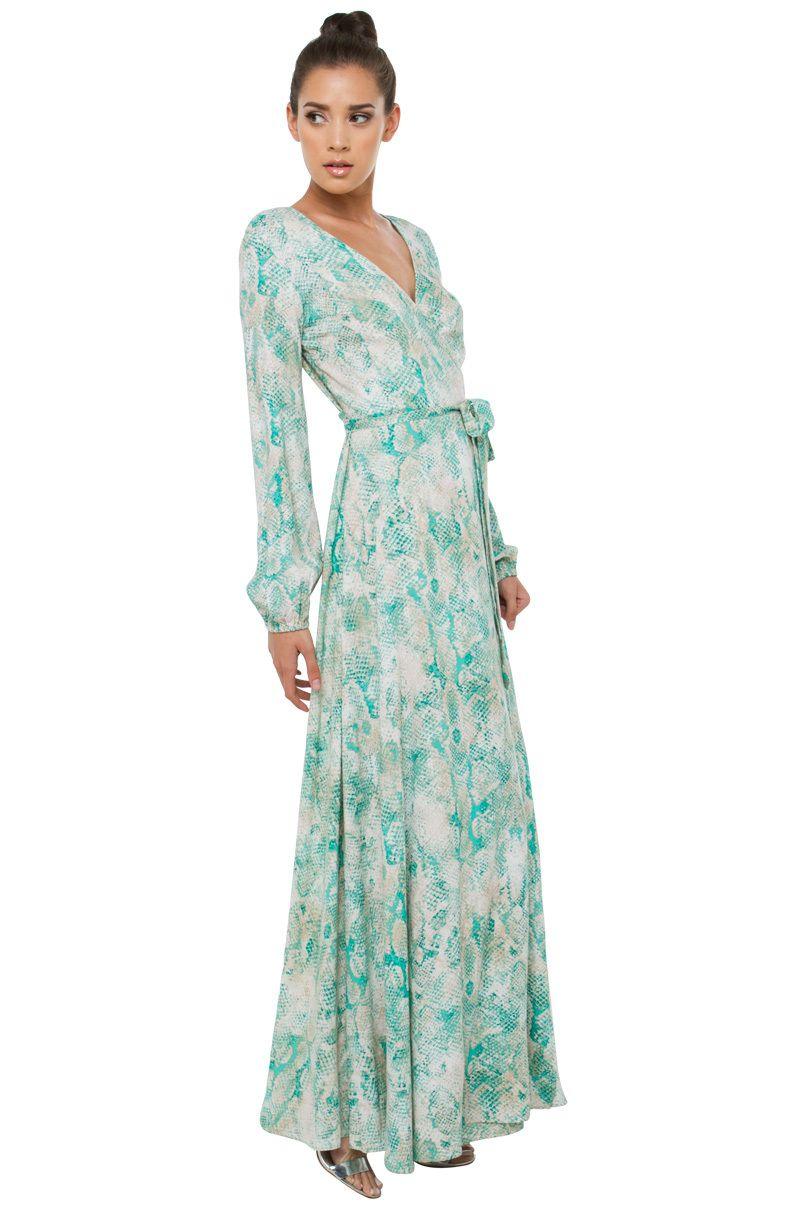 Sexy green snakeskin printed long sleeve wrap maxi dress akira