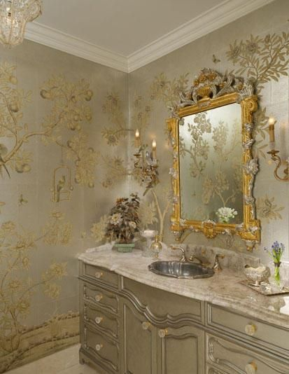 Chinoiserie in silver and gold leaf; Hayslip Design Associates.