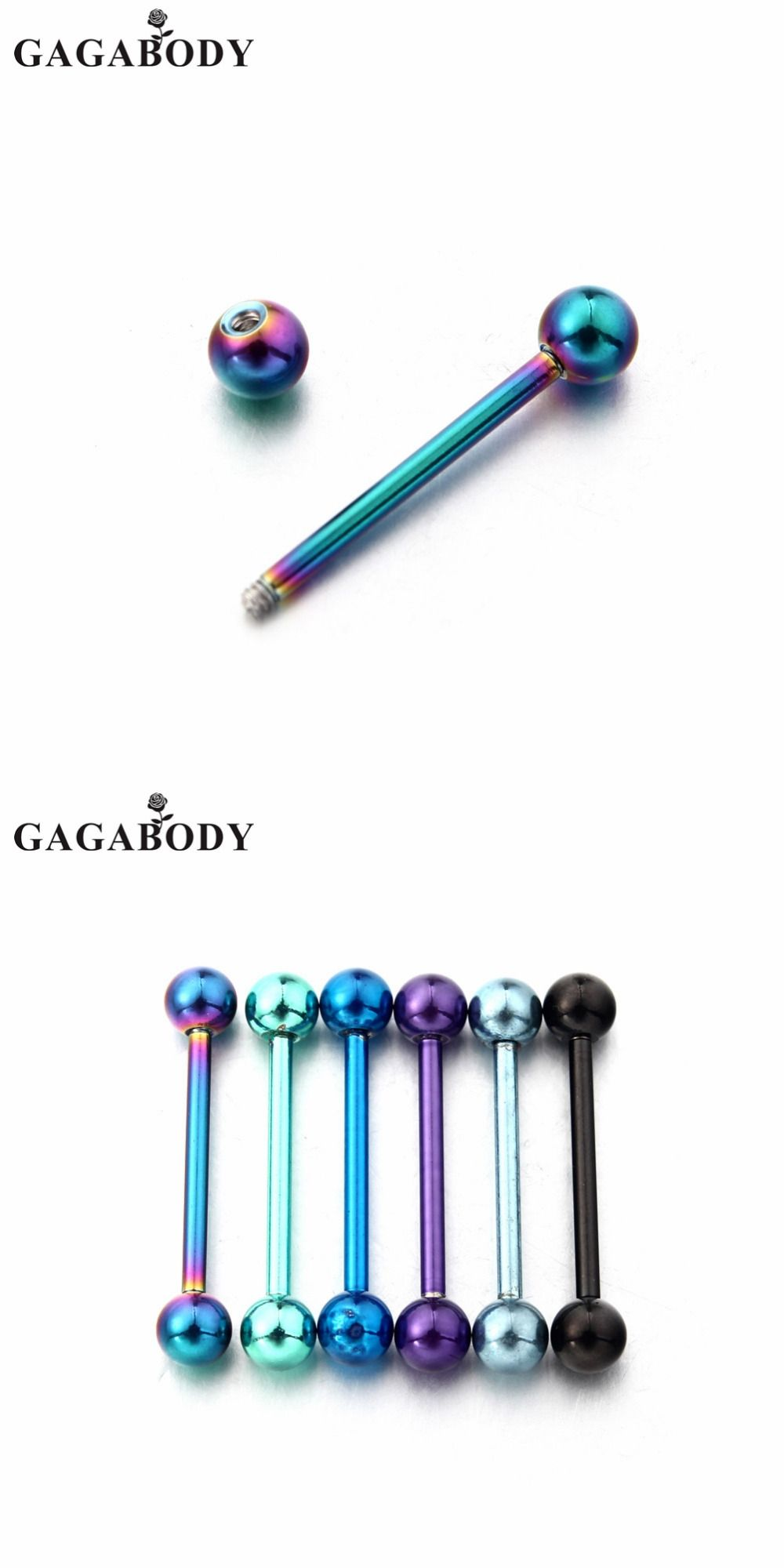 Body piercing jewelry  GAGA G Titanium Anodized Surgical Steel Nipple Tongue Ring Barbell