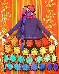Upcycled Rainbow Spiderweb Crochet Dreamcoat With Pixie Hood