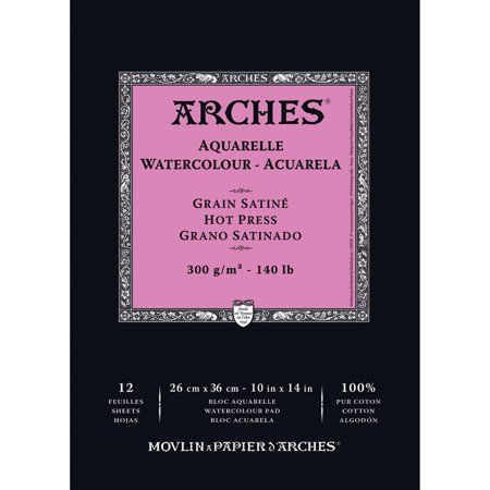 Arches 140 Lb Watercolor Pad Hot Pressed 10 Inch X 14 Inch Size