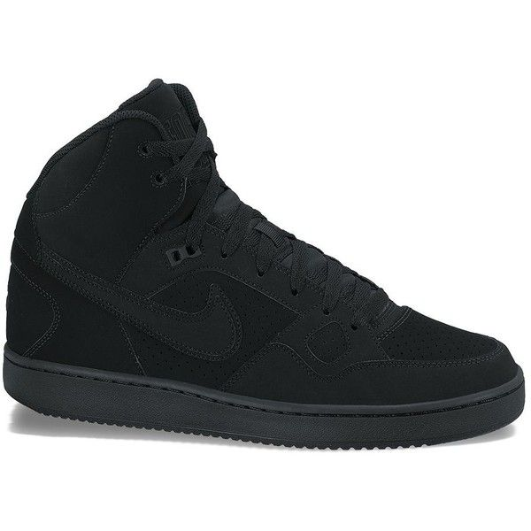 Nike Son of Force Men's Mid-Top Shoes ($75) ❤ liked on Polyvore featuring men's fashion, men's shoes, men's sneakers, black, mens black sneakers, mens sneakers, nike mens shoes, mens shoes and nike mens sneakers
