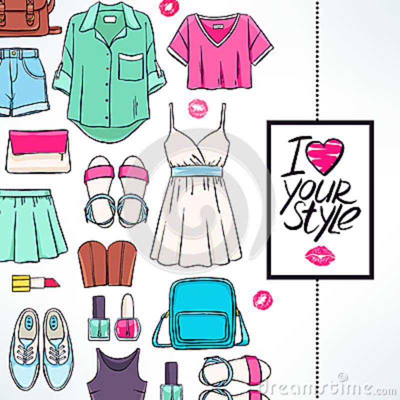 Tarjeta con ropa del verano