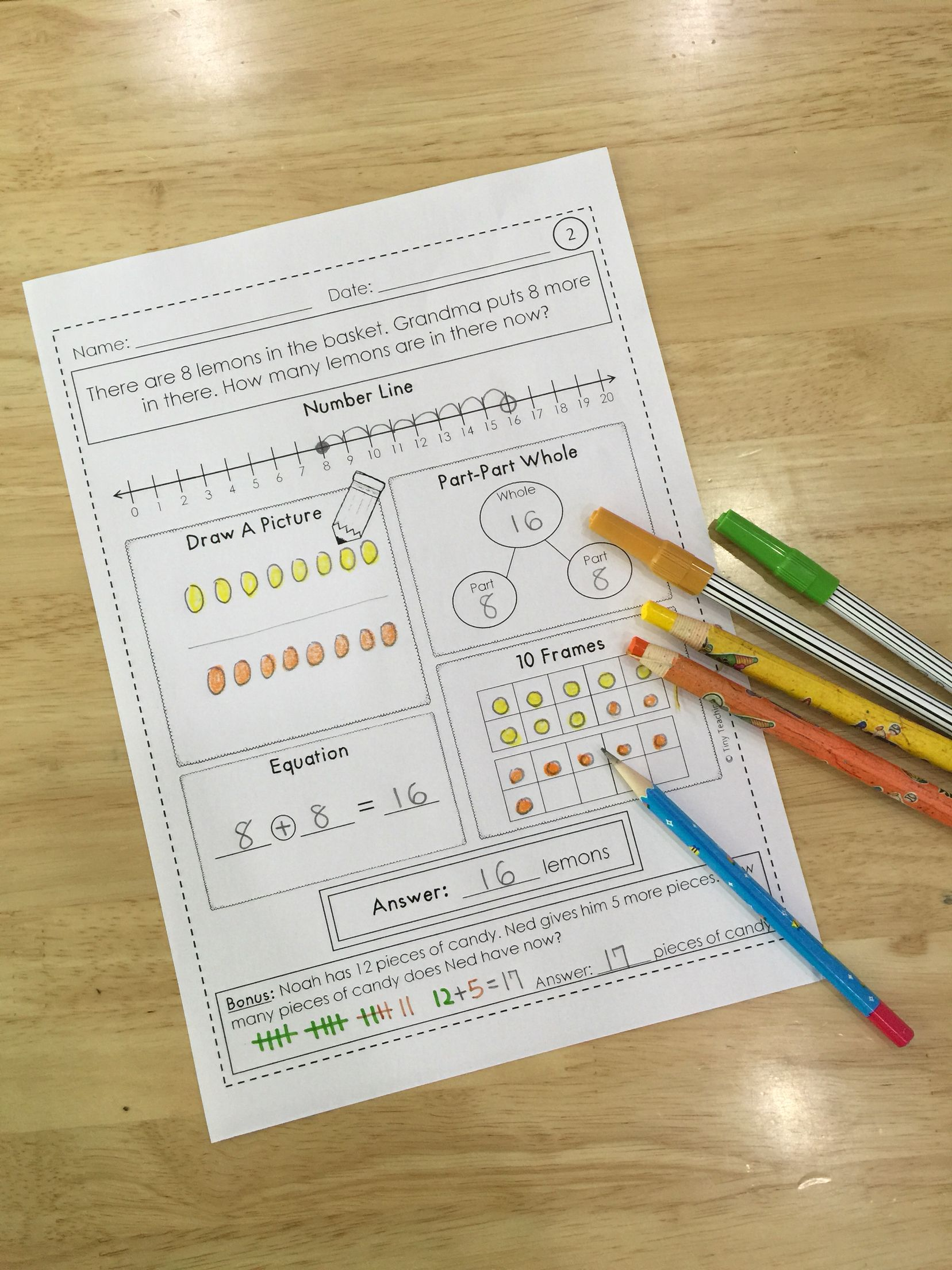 Word Problem Practice Sheets- 2 Whole Numbers OA.A.1 | Word problems ...