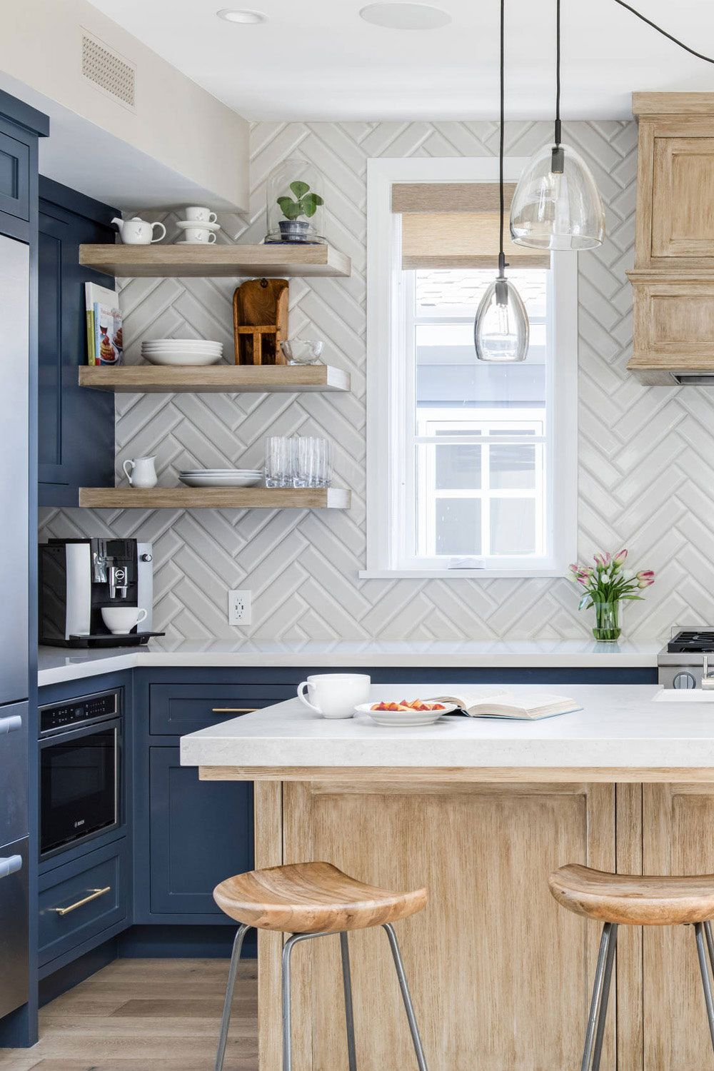42 Colorfull Herringbone Backsplash Ideas Trendy In 2020 Blue Backsplash Kitchen White Wood Kitchens Kitchen Design