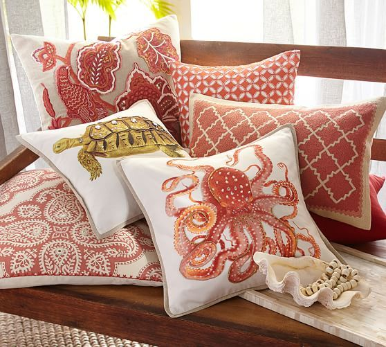 pottery barn pillow covers La Paz Jeweled Octopus Pillow Covers | Beach House Interiors  pottery barn pillow covers