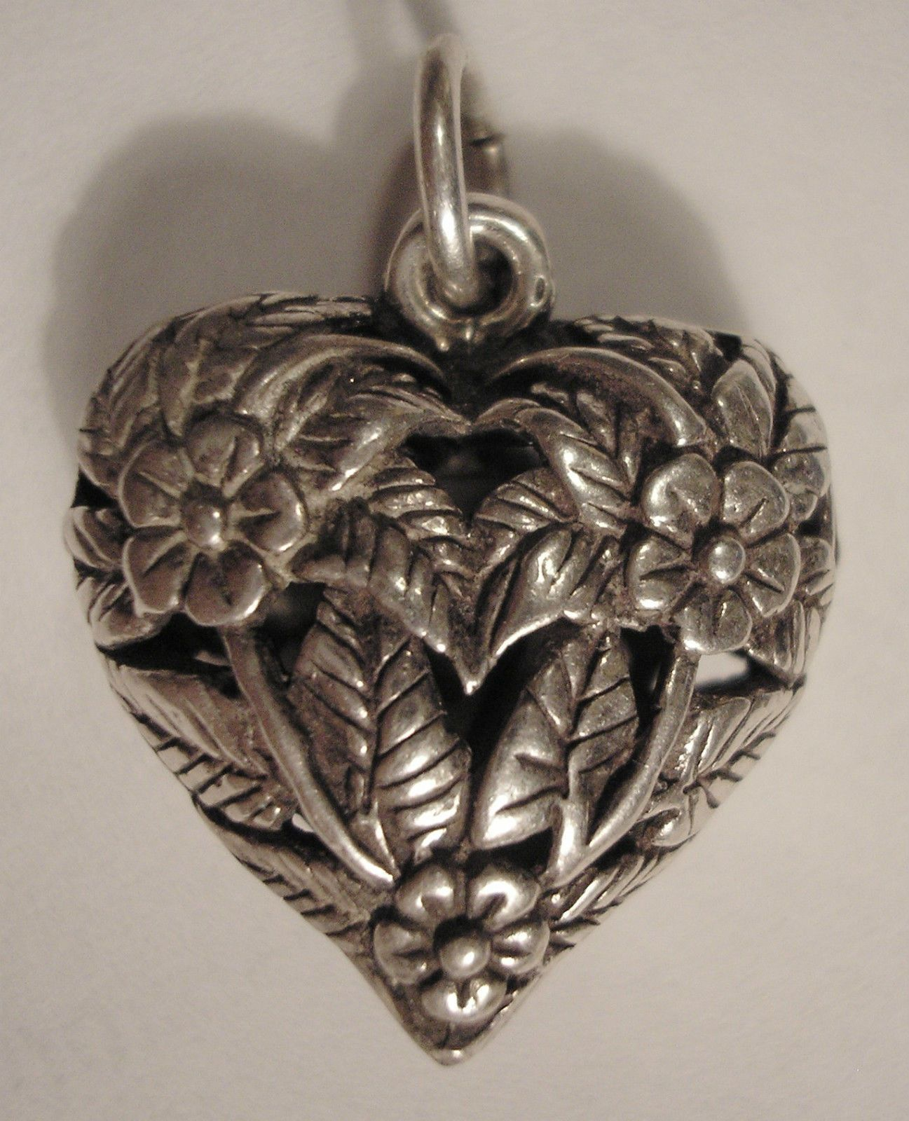 Sterling Silver Hollow Polished Filigree Heart Charm