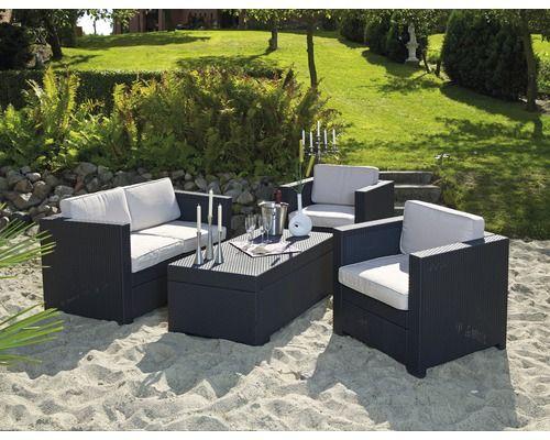 Gartenmöbel Set Riviera Polyrattan 4 teilig, anthrazit   399