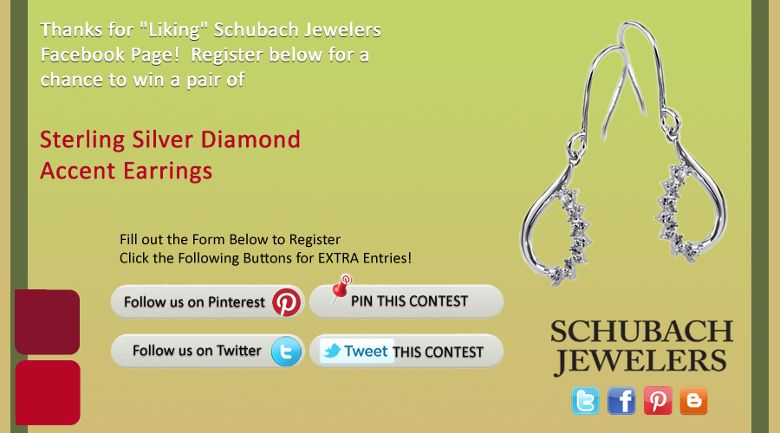 I just entered the Schubach Jewelers' 'Celebrate the Holidays' Contest. Click this Pin to see how to enter to win a pair of Sterling Silver Diamond Accent Earrings