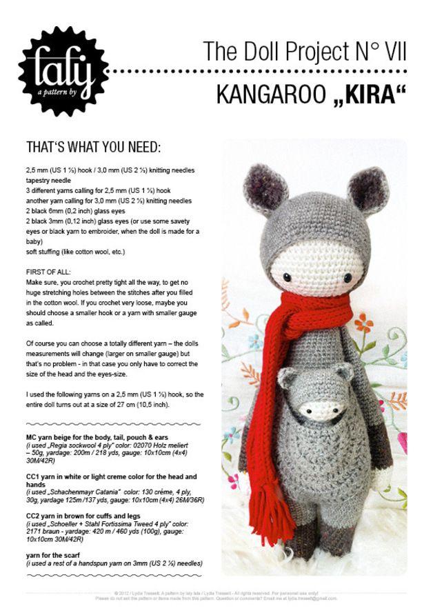 Canguro KIRA • lalylala patrón de crochet | Amigurumi, Crochet and ...