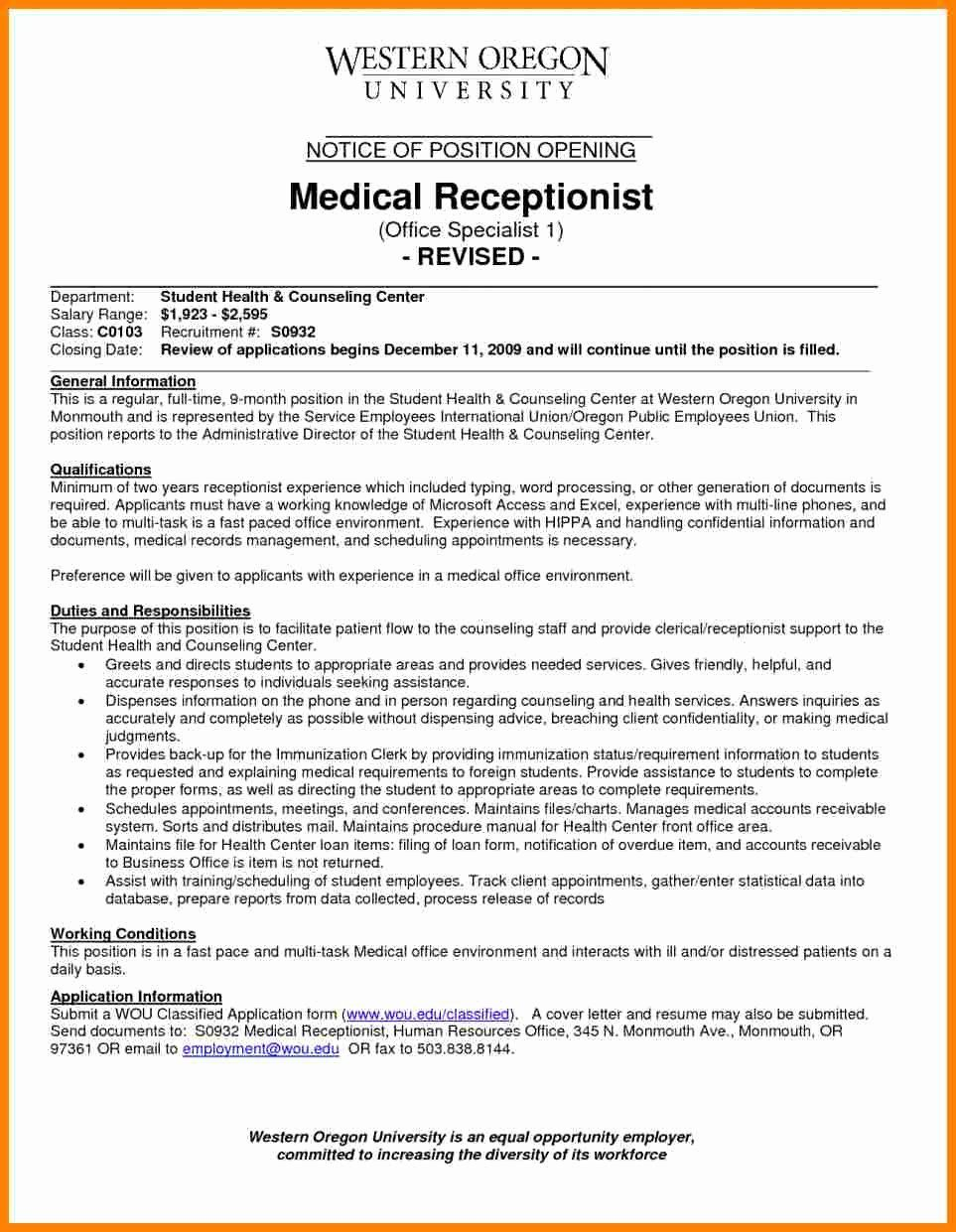 Medical Receptionist Resume Examples Lovely 8 Medical