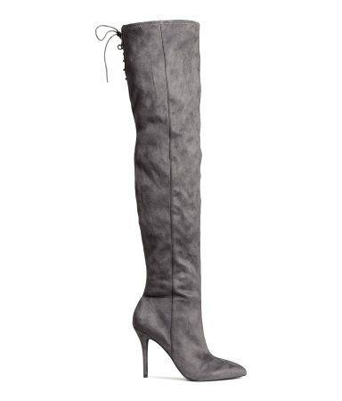grijze laarzen met hoge hak