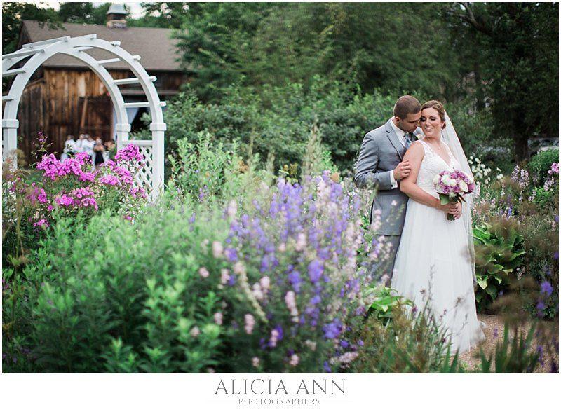 Bride and groom flower garden portrait ideas at the Webb Barn in Wethersfield CT