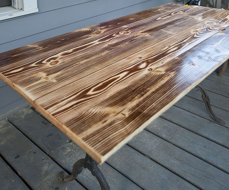 Build Your Own Charred Wood Table Top For A Dramatic Look