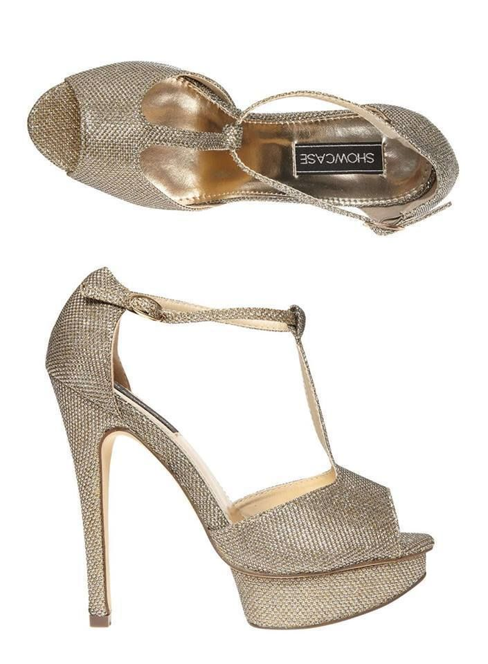 c24e968df34 Womens New Gold Dorothy Perkins Platform High Heel Occasion Party Shoes UK  5-6
