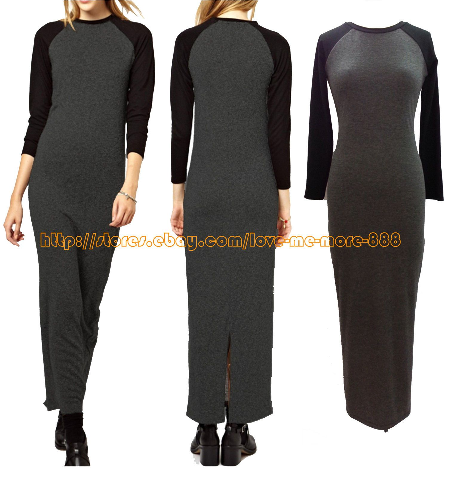 New womens school casual long sleeves contrast colour split long