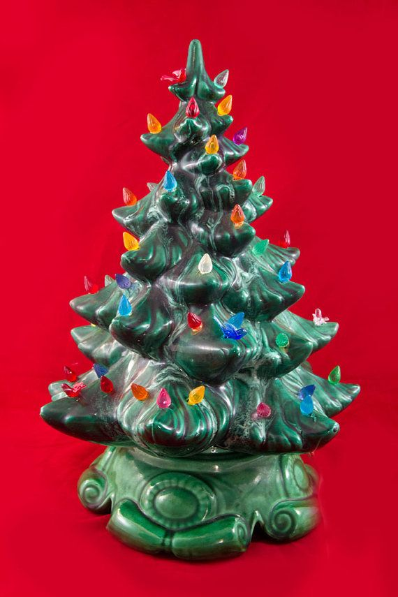 Ceramic Tabletop Christmas Tree With Lights Glamorous Vintage Tabletop Ceramic Christmas Tree  Green Ceramic  Lights Up Design Decoration