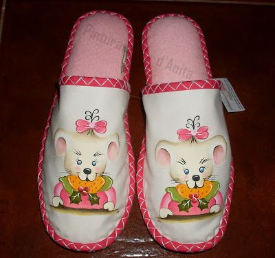 Pinturas d'anita - pintura de la tela: zapatillas - fieltro y tela