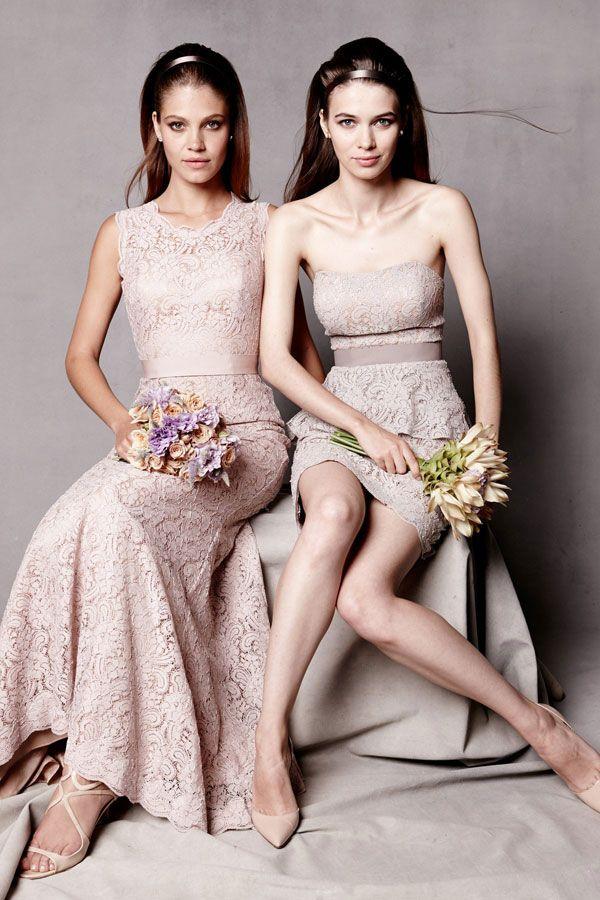 Blush Bridesmaid Gown Lace Dresses Watters Bridesmaids