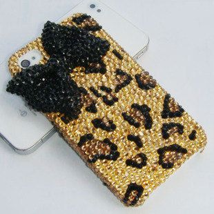 Sparkly iphone case, gold rhinestone Leopard with black bling swarovski bow cute iphone 4s case iphone 5 case. custom samsung galaxy s3 case. $24.00, via Etsy.