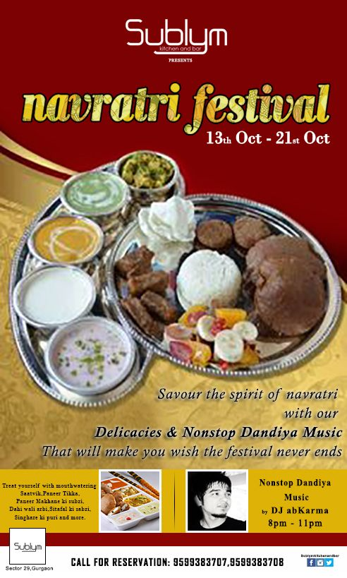 Get #Spiritual & feel the #Holiness of #Navratri at #Sublym Kitchen ...